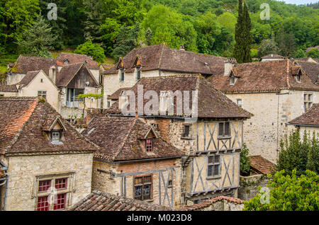 We see the villa of Saint Cirq Lapopie designated as one of the most beautiful medieval French villas located in - Stock Photo