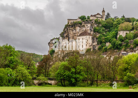 View of the medieval village of Rocamadour in the midi pyrenees region. It is located on top of a calcareous mountain - Stock Photo