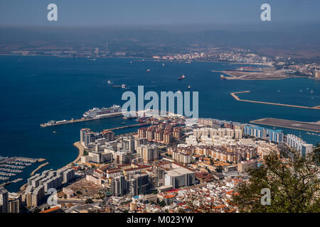 GIBRALTAR / GREAT BRITAIN - OCTOBER 09 2017: VIEW FROM ROCK OF GIBRALTAR - Stock Photo