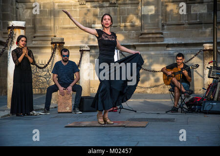 SEVILLE, ANDALUSIA / SPAIN - OCTOBER 13 2017: FLAMENCO STREET DANCER - Stock Photo