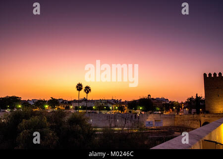 CORDOBA, ANDALUSIA / SPAIN - OCTOBER 14 2017: SUNRISE VIEW FROM ROMAN BRIDGE - Stock Photo