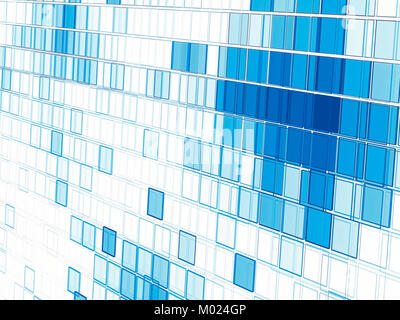 White and blue tech style background - abstract computer-generated image. Fractal art: cells placed in row with - Stock Photo