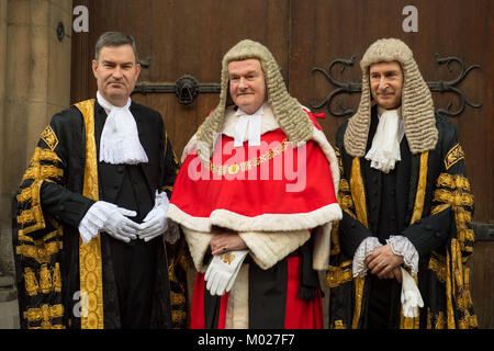 Lord Chancellor David Gauke (left) poses for a photo with Lord Chief Justice Lord Thomas of Cwmgiedd (centre) and - Stock Photo