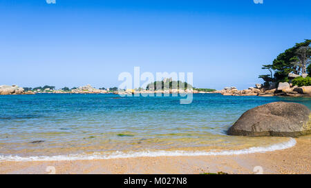 travel to France - view of Saint-Guirec beach of Perros-Guirec commune on Pink Granite Coast of Cotes-d'Armor department - Stock Photo