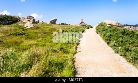 travel to France - footpath in natural park of Ploumanac'h site of Perros-Guirec commune on Pink Granite Coast of - Stock Photo