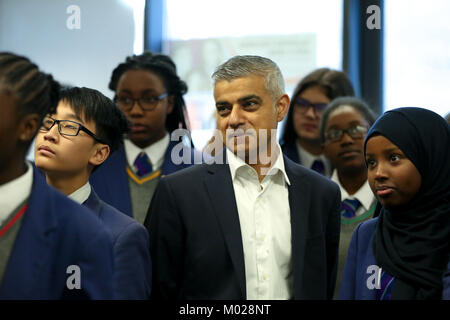 Ahead of the centenary of the first women in the UK securing the right to vote, the Mayor of London, Sadiq Khan, - Stock Photo