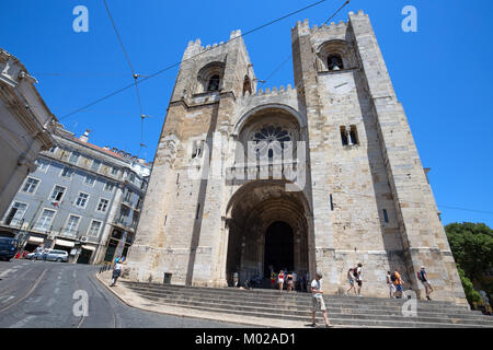 LISBON, PORTUGAL, JUNE 21, 2016 - Santa Maria Maior (Se Cathedral), the oldest church in the city of Lisbon, Portugal - Stock Photo