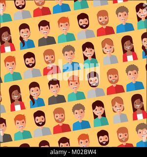 seamless pattern people avatar character icons - Stock Photo