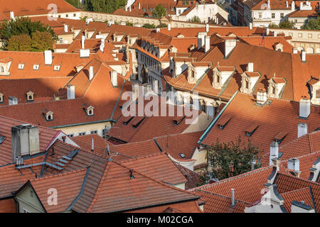 Close of of red terracotta rooftops in Prague - Stock Photo