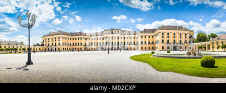 Panoramic view of famous Schonbrunn Palace with main entrance in Vienna, Austria - Stock Photo