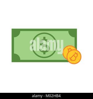 Simple Bitcoin Investment Money Vector Illustration Graphic Design - Stock Photo