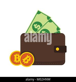 Bitcoin and Money Wallet Vector Illustration Graphic - Stock Photo