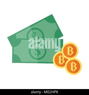 Investment Bitcoin Dollar Currency Vector Illustration Graphic - Stock Photo