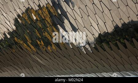 Full frame hexagonal mirrored glass pattern background. - Stock Photo