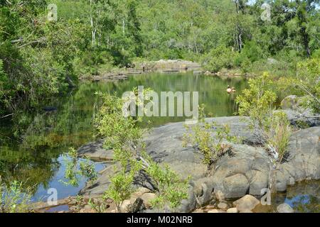 A couple enjoying being together, Alligator Creek, Bowling Green Bay National Park (Alligator Creek), Townsville, - Stock Photo