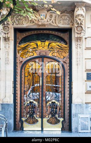 Ornate doorway entrance in Bilbao in the Spanish Basque city - Stock Photo