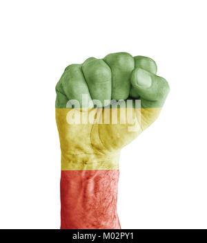 Flag of Rasta painted on human fist like victory symbol - Stock Photo