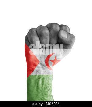 Flag of Sahrawi Arab Democratic Republic painted on human fist like victory symbol - Stock Photo