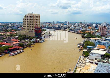 Asia,Thailand,Bangkok,cityscape and Chao Phraya river - Stock Photo