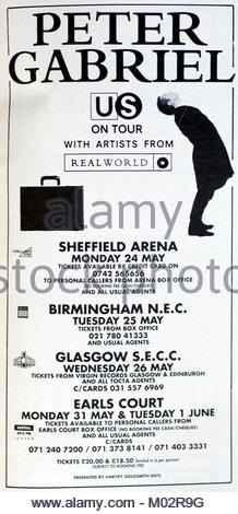 Magazine advert with UK tour dates for Peter Gabriel 1993 - Stock Photo