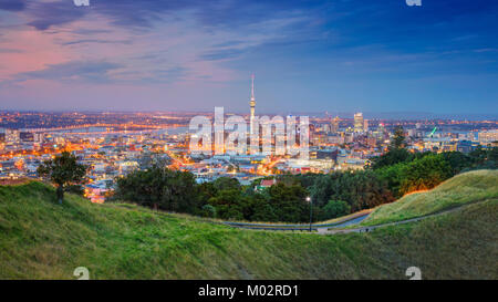 Auckland. Cityscape image of Auckland skyline, New Zealand taken from Mt. Eden at sunset. - Stock Photo