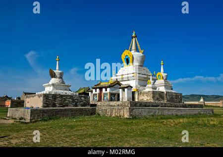Mongolia, Kharkhorin: Golden stupa or Bodhi Suburgan at Erdene Zuu Monastery - Stock Photo