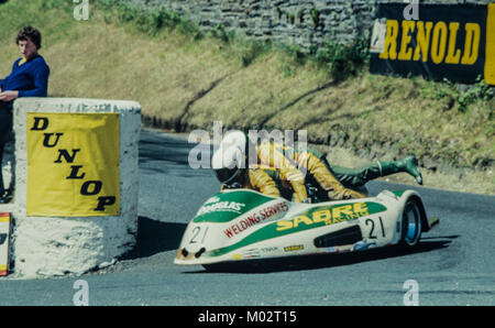 June 1983 Isle of Man TT races, sidecar event race - Stock Photo