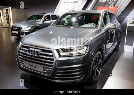 BRUSSELS - JAN 10, 2018: Audi SQ7 car showcased at the Brussels Motor Show. - Stock Photo