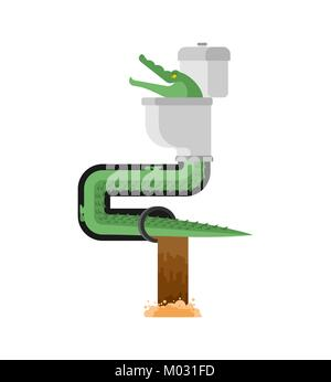 Crocodile in sewer. Alligator in sewerage pipe. Predator animal. City legend. Toilet and Water Supply and Sewerage - Stock Photo