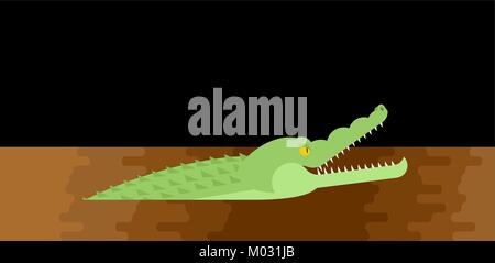 Alligator sewerage. Crocodile in sewer. Predator animal. City legend. Vector illustration - Stock Photo