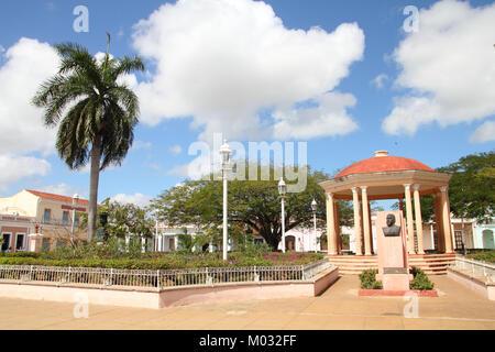Remedios, Cuba - main square palm tree and gazebo in park - Stock Photo