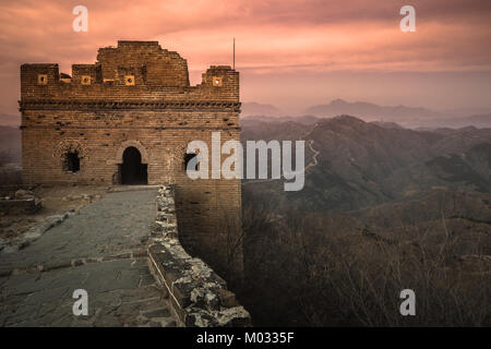 Simatai Great Wall tower over the sunrise - Stock Photo