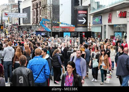 LIVERPOOL, UK - APRIL 20: People shop on April 20, 2013 in Liverpool, UK. Liverpool City Region has a population - Stock Photo