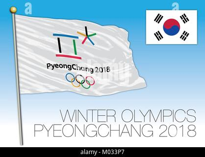 PYEONGCHANG, SOUTH KOREA, FEBRUARY 2018, Olympic winter games 2018 Pyeongchang flag, South Korea - Stock Photo
