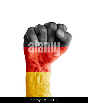 Flag of Germany painted on human fist like victory symbol - Stock Photo