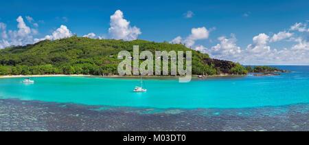 Panoramic view on tropical island. - Stock Photo
