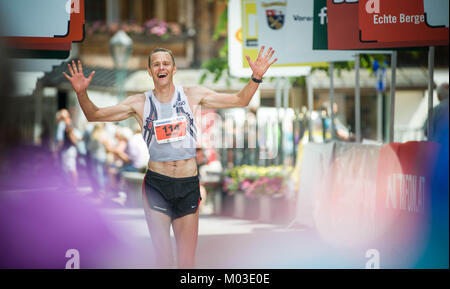 OSTERREICH, ST. ANTON AM ARLBERG - JULI 2, 2016: Niklas Krohn, the winner of 14. Montafon Arlsberg Marathon running - Stock Photo