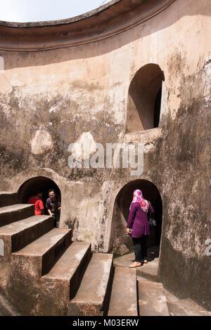 Underground mosque. Water Palace Taman Sari in Yogyakarta. Java, Indonesia. - Stock Photo