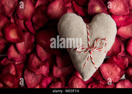 St Valentines day love heart and rose petals - Stock Photo