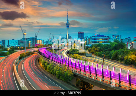 Auckland. Cityscape image of Auckland skyline, New Zealand at sunset. - Stock Photo