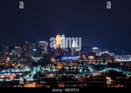 View of the City of Cincinnati from the west side - Stock Photo