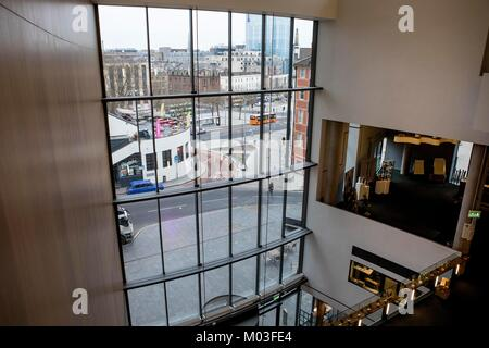 Looking at Bristol city centre through the windows of the new Colston Hall building - Stock Photo