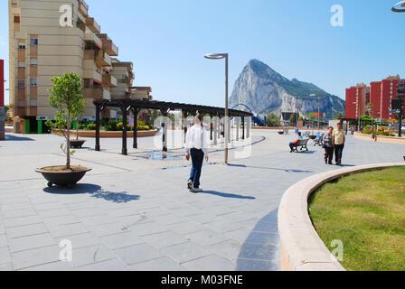 Street and view of Peñon de Gibraltar. La Linea de la Concepcion, Cadiz province, Andalucia, Spain. - Stock Photo