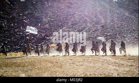 Still image taken from a propaganda video released January 14 2018 showing Taliban fighters in a training camp in - Stock Photo