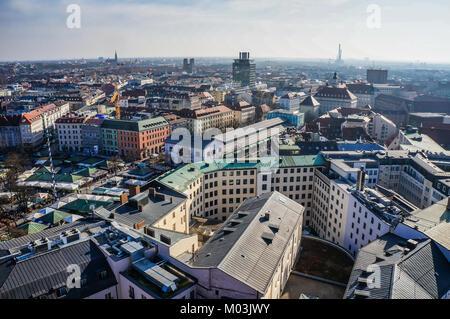 Panorama view of Munich city center. - Stock Photo