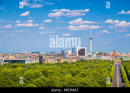 Aerial view of Berlin skyline panorama with Grosser Tiergarten public park on a sunny day with blue sky and clouds - Stock Photo