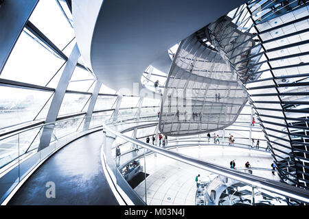 Interior view of famous Reichstag Dome on July 19, 2015 in Berlin, Germany - Stock Photo