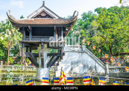 Hanoi,Vietnam : November 1,2017 : One Pillar Pagoda is a historic Buddhist temple in Hanoi, the capital of Vietnam. - Stock Photo