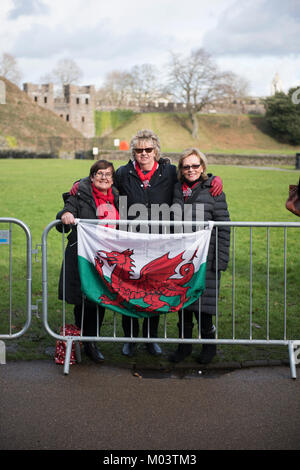 Cardiff, Wales, United Kingdom. 18th Jan, 2018. Prince Harry and Meghan Markle visiting Cardiff and Cardiff Castle - Stock Photo