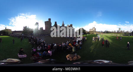 CARDIFF, UK. 18th Jan, 2018. A 360 view of the crowds gathering at Cardiff Castle to meet and see Prince Harry and - Stock Photo